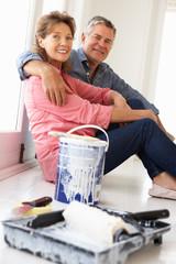 Senior couple decorating house
