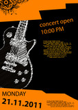 vector music poster with guitar