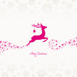 Flying Reindeer, Christmas Ball & Snowflakes Pink