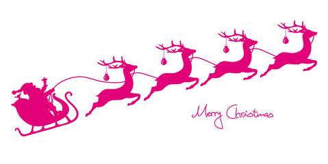 Christmas Sleigh Santa & 4 Flying Reindeers Pink