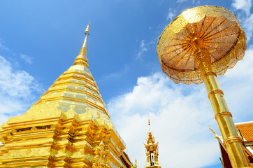 Golden stupa at doi suthep , chiang mai , thailand