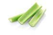 Green celery sticks isolated on white background