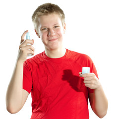 The boy, the teenager with a cream for a problem youthful skin