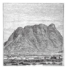 Mount Sinai or Mount Horeb in Sinai Peninsula Egypt vintage engr