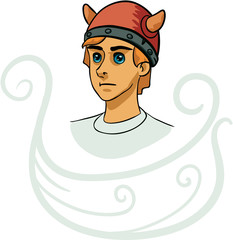 Portrait of young viking cartoon character