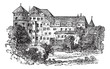 Stuttgart, the former palace, vintage engraving.