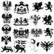 Coat of arms and heraldic animals set