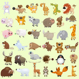 Fototapety Big vector cartoon animal set