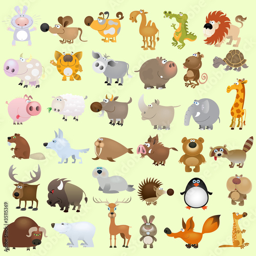 Tuinposter Zoo Big vector cartoon animal set