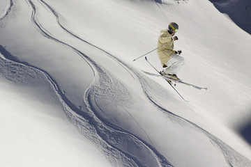 flying skier on mountains, snow extreme