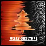 Modern sketchy christmas tree greeting card poster