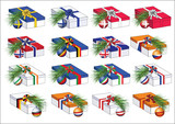 Gift boxes with european countries flags ribbons