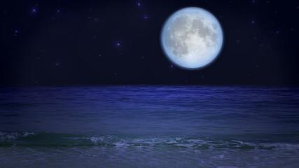 Mystic moon on the beach