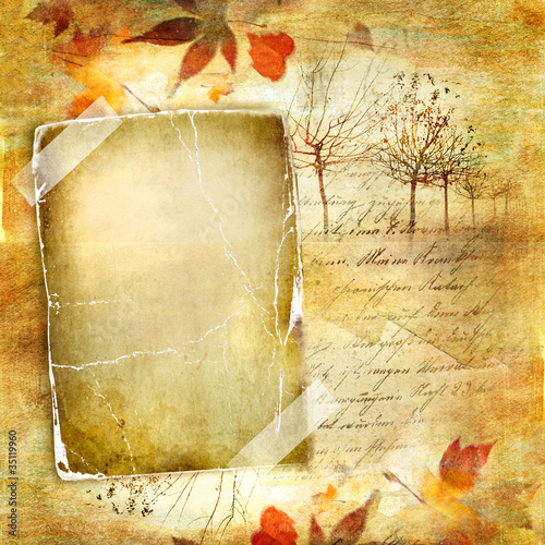 vintage autumn background with blank frame