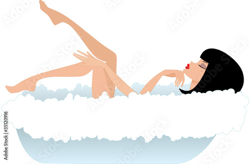 Woman in a bath. vector, gradient