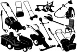 Illustration of gardening tools and equipment