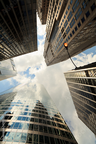 Upward view of Chicago skyscrapers