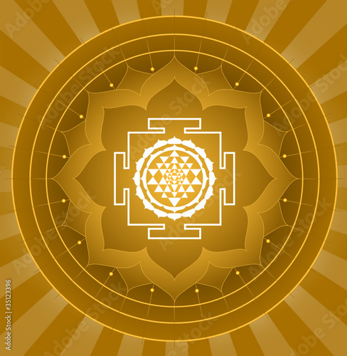 Spiritual Shree Yantra Lotus Design
