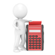 3D little human character with a Red Calculator. People Series.