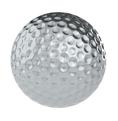A Golf Ball of silver. Isolated.