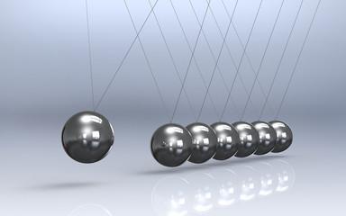 Newtons cradle Reflective Floor. Pendulum