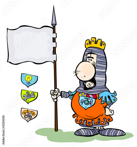 Cartoon Knight holding his Banner .