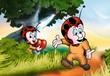 Walking Ladybug - Cartoon Background Illustration