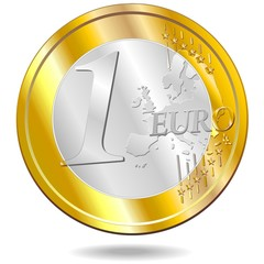 Euro Moneta-Euro Currency-Coin-Vector