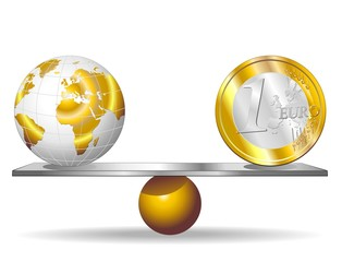 Euro e Mondo su Bilancia-Euro And World on Balance-Vector