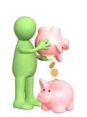 Puppet with piggy bank