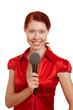 Lächelnde Frau mit Mikrofon