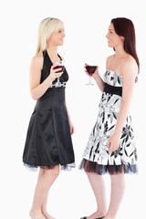Cute well-dressed women drinking red wine