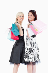 Joyful well-dressed women with shopping bags