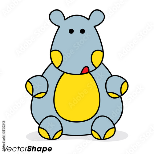 funny cartoon hippo sitting on a floor stock image and royalty free