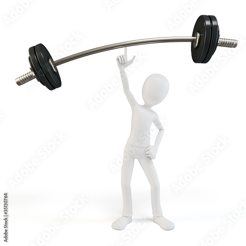 3d man easy lifting heavy barbell