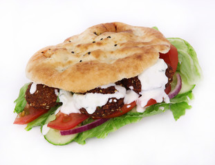 Falafel sandwich isolated on white