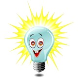 Idea Lampadina Cartoon-Idea Light Bulb-Vector