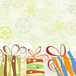 Christmas background, snowflakes and gift boxes