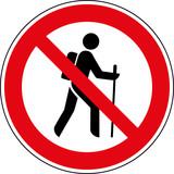 Verbotsschild Wandern verboten - Kein Wanderweg Zeichen