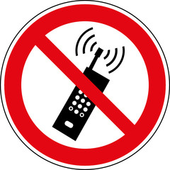 Verbotsschild Handys - Mobiltelefone verboten Zeichen Symbol
