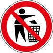 Verbotsschild Kein Mülleimer - Abfallbehälter Zeichen Schild