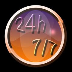 bouton icône 24h/7jours
