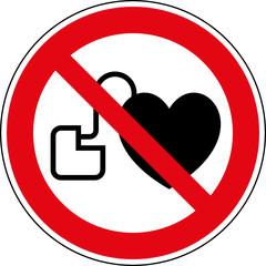 Verbotsschild Verboten für Personen mit Herzschrittmacher