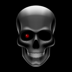 One-eyed skull on black