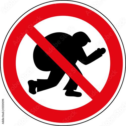 Verbotsschild Dieb Einbrecher Verbotszeichen Symbol