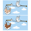 Cartoon stork flying with baby