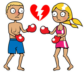Girl and boy boxing, breakup concept