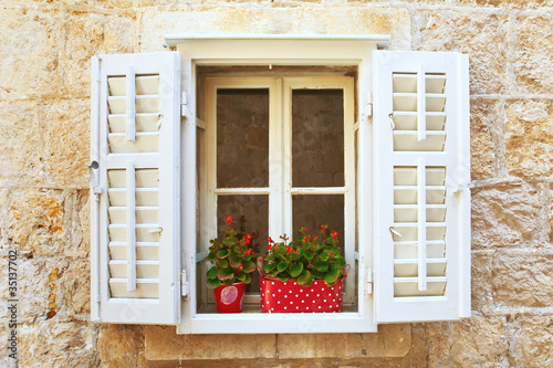Old Shutter windows with a flowers. Montenegro.