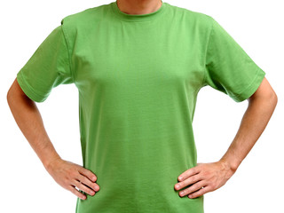 Green t-shirt on young man isolated on white background
