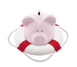 Savings help. Piggy bank with Lifebuoy